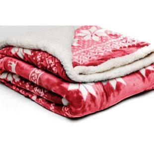 Červená hřejivá deka z mikroplyše
