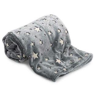Šedá svítící hřejivá deka s hvězdičkami